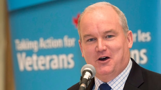 Veterans Affairs Minister Erin O'Toole delivers a speech to the Rotary Club of Toronto on Friday.