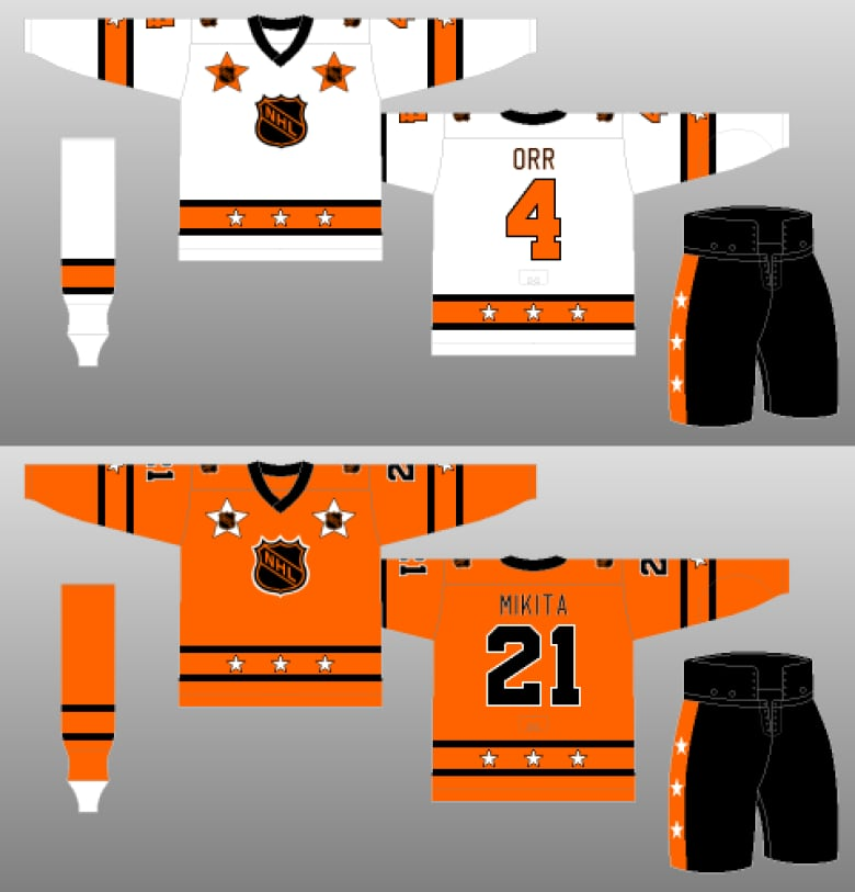 The NHL got rid of the navy blue for the 1973 All-Star game creating two  jerseys with the same white 2e7518f78