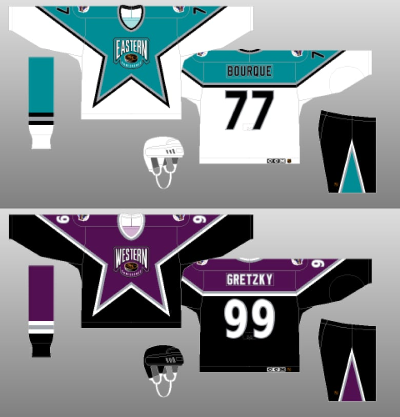Things got fashionable in 1994 as the league took a radical turn by using  purple and teal for the All-Star game jerseys. (NHLUniforms.com) 606c716bd