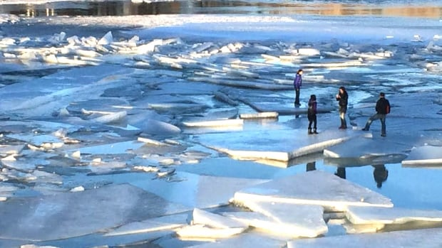 A Calgary blogger took this photo of people jumping ice slabs on the Bow River.
