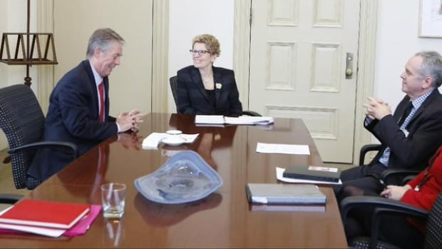 This picture was posted in Kathleen's Wynne Twitter account Monday afternoon following her meeting with Hamilton mayor Fred Eisenberger. From left: Eisenberger, Wynne, city manager Chris Murray.