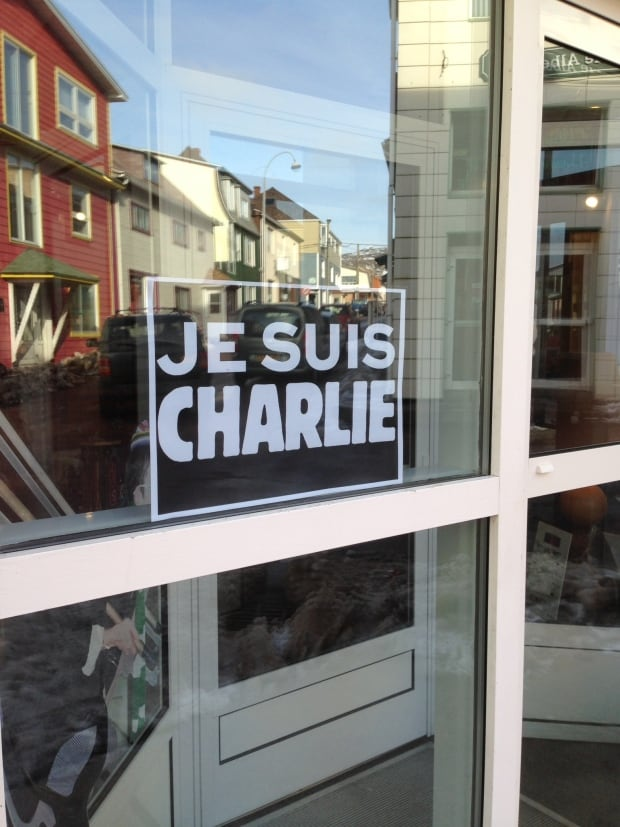 Je Suis Charlie sign in window on St. Pierre