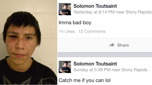 Postings to Facebook appeared a few days after RCMP reported that Solomon Toutsaint had escaped custody.