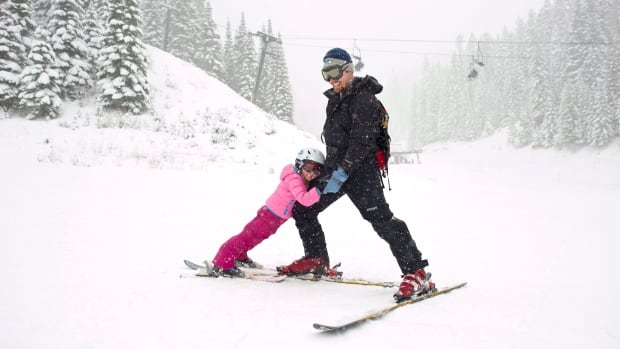 Trevor and Ellie Nelson on the slopes in Dayton, Wash.
