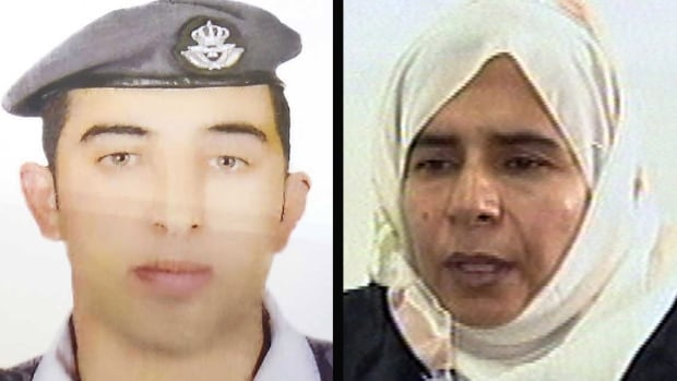 Jordan executed two people early Wednesday, including Sajida al-Rishawi, right, to avenge the killing of  Jordanian fighter pilot Lt. Muath al-Kaseasbeh, left, by ISIS militants on Tuesday.
