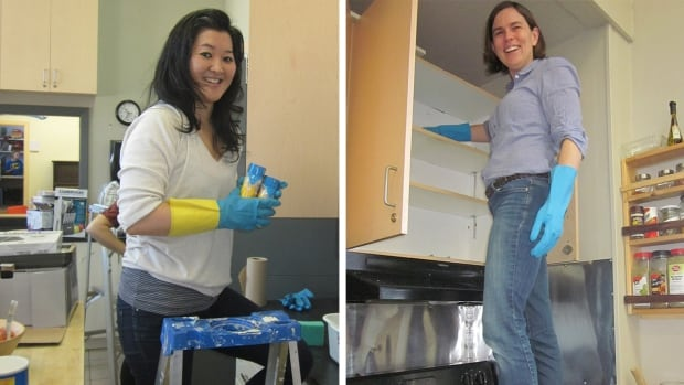Do Crew volunteer Marie Murai and CBC's Monique Lacombe clean out kitchen cupboards at Tyndale St Georges Community Centre in Little Burgundy.