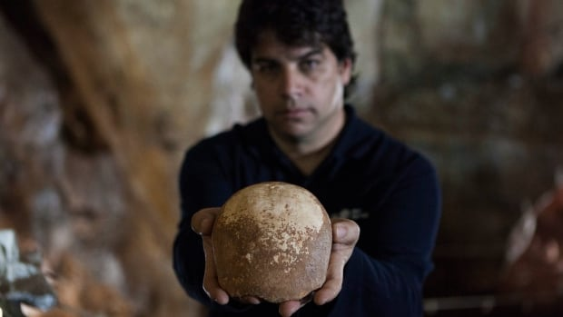 Omry Barzilai of Israel's Antiquities Authority holds an ancient skull from around 55,000 years ago, fitting into the period when scientists had thought human migrants from Africa en route to Europe lived in the region.