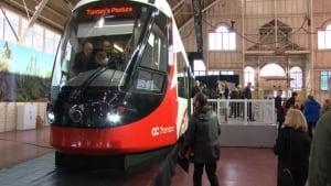Replica light rail train Alstom Citadis LRT Confederation Line Ottawa Jan 29 2015
