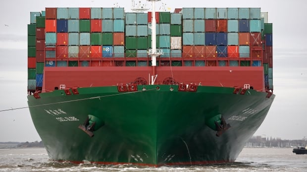 The world's largest container ship, the CSCL Globe, is shown after being loaded up at the port of Felixstowe in England. But the Baltic Dry Index suggests that overall, world demand for tankers is slumping.