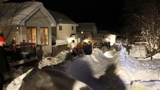bay neighbours share massive backyard luge run sudbury cbc news
