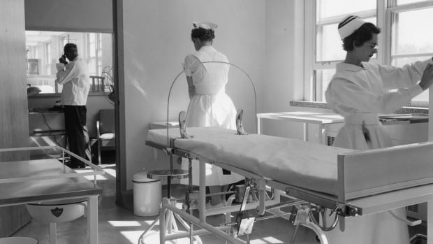 Examining room adjoining the nurses' station in the new T.B. wing of the hospital, June 1956, the year the term 'psychedelic' was coined.