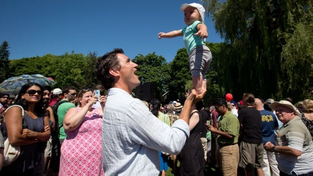 A poll by Abacaus Data found more respondents would choose to have Liberal Leader Justin Trudeau babysit their children for an evening. Trudeau is seen here balancing his five-month-old son Hadrien on his hand last summer.