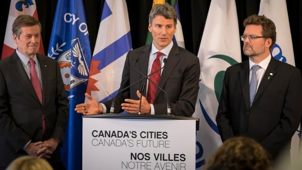 Toronto Mayor John Tory, Vancouver Mayor Gregor Robertson and Gatineau Mayor Maxime Pedneaud-Jobin said the federal government must provide more consistent funding to cities.
