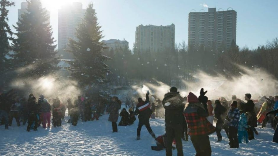 The #yegsnowfight at Kinsmen Park in Edmonton.
