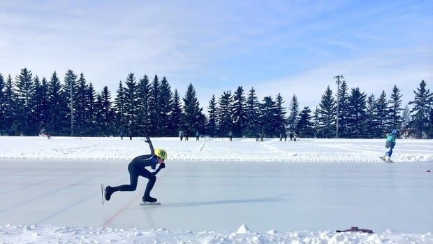 A skater races down the ice at the Clarence Downey Speed Skating Oval in Saskatoon. The City of Saskatoon is turning to the public for ideas on how to make the city more vibrant in the winter.