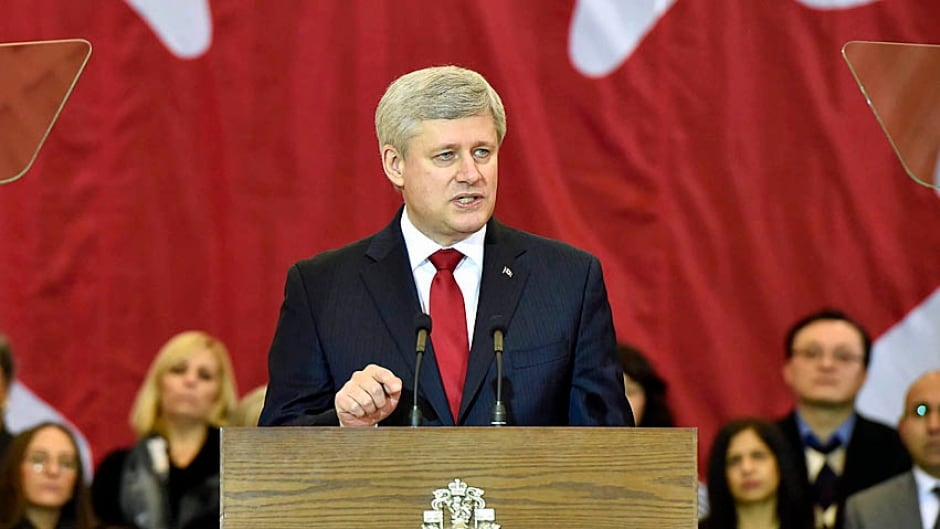 Prime Minister Stephen Harper announces the government's new anti-terror initiative in Richmond Hill, Ont.