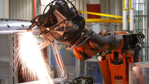 Robots are getting cheaper. The cost of owning and operating a robotic spot welder, like this one in the Volvo plant in Dublin, Va., has tumbled from $182,000 in 2005 to $133,000 last year, and will drop to $103,000 by 2025, Boston Consulting says.