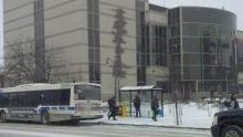 thunder bay bus outside city hall, winter