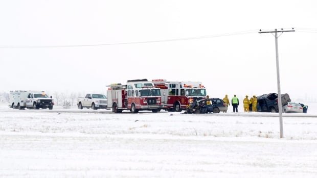 RCMP and members of Regina Fire and Protective Services respond to a multi-vehicle accident on Highway 6, 15 kilometres north of Regina.
