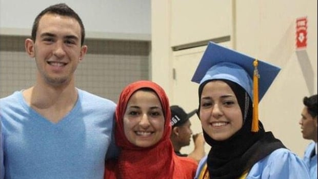 Deah Shaddy Barakat, 23, left, his wife Yusor Mohammad, 21 and her sister, Razan Mohammad Abu-Salha, 19, were identified as the three victims in a fatal shooting near the University of North Carolina's Chapel Hill campus.