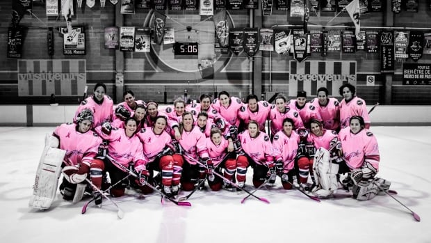 The Montreal Stars players donned their pink jerseys for part of the game.
