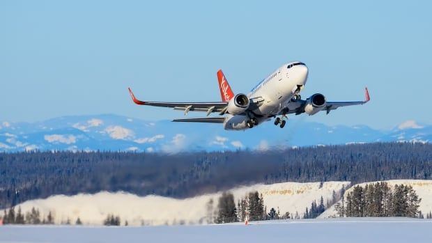 An Air North aircraft takes off from the Whitehorse airport. The analysis focused only on major routes in southern Canada.