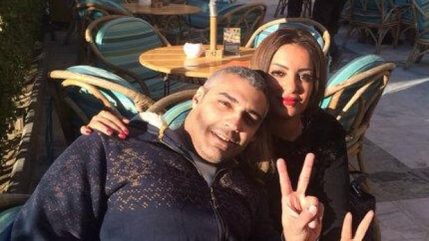 Mohamed Fahmy and his fiancée, Marwa Omara, enjoy the Cairo sunshine after his release on bail. Fahmy is calling on Prime Minister Stephen Harper to intervene directly in his case.