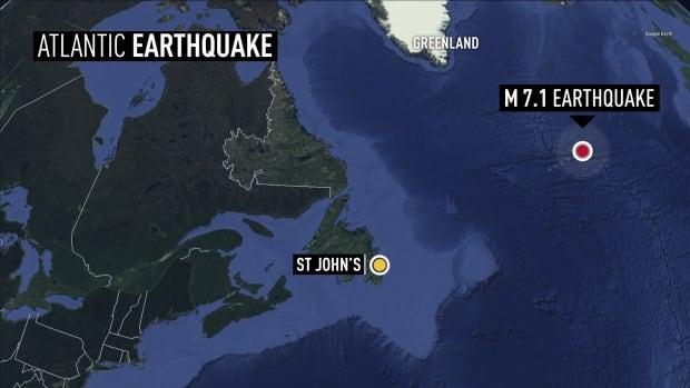 The quake happened about 1,700 kilometres off of Newfoundland.