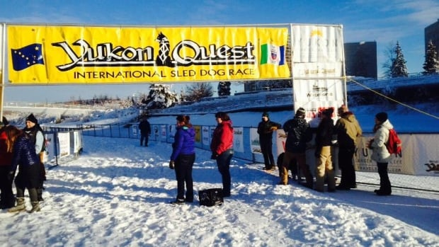 Volunteers get the 2015 Yukon Quest finish line ready Monday at Fairbanks, Alaska. Mushers Allen Moore and Brent Sass are expected to arrive Monday evening.