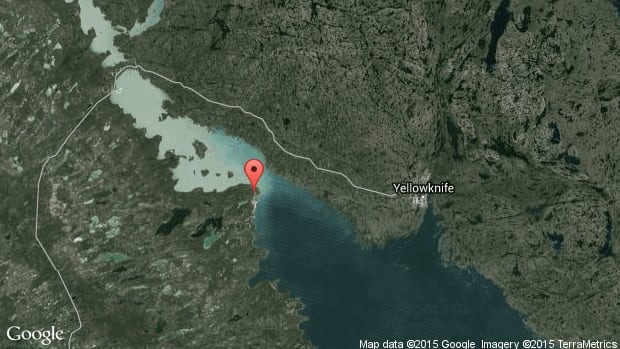 A map showing the location of Whitebeach Point, 50 km west of Yellowknife.