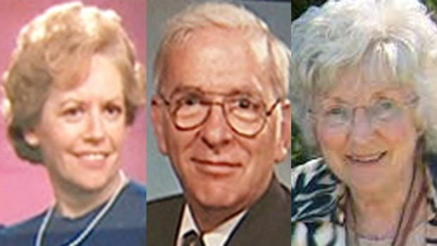 From left, Raymonde Garon, her husband Alban Garon, and their friend and neighbour Marie-Claire Beniskos, were found dead in the Garons' apartment in June 2007.