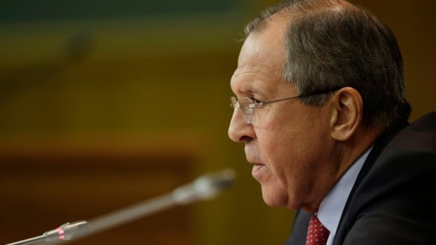 Russian Foreign Minister Sergey Lavrov speaks at the Foreign Ministry headquarters in Moscow in October 2014. The Russian Foreign Ministry has rebuffed new sanctions imposed by Canada over Russia's involvement in the conflict in Ukraine.