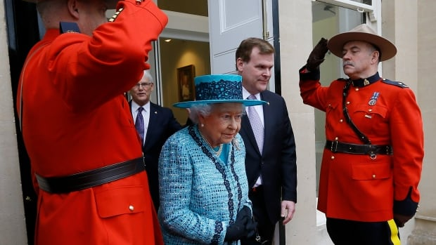 The Queen after a visit to reopen Canada House in London, on Feb. 19, 2015. She unveiled a plaque later found to have spelling errors. It was repaired at a cost of $4,000.