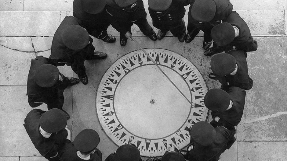 April 1941: Cadets at the Thames Nautical College taking a lesson in compass reading.
