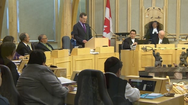 Nunavut Finance Minister Keith Peterson makes his budget address in the legislative assembly Wednesday.