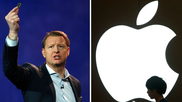 Hans Vestberg, president and chief executive of the Ericsson Group, is shown at a 2012 keynote address. Ericsson is suing Apple, alleging patent infringement for 41 patents it claims are used in Apple devices.