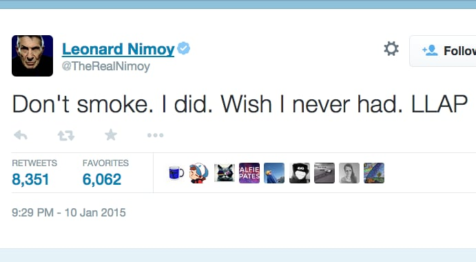 Leonard Nimoy died of COPD  He wanted every smoker to quit