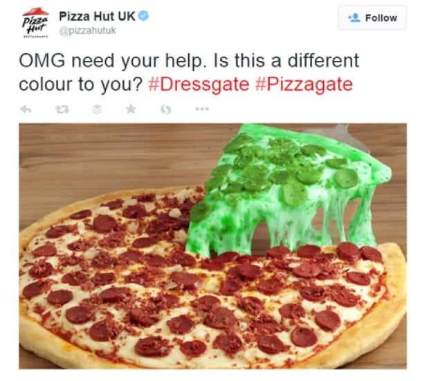 Pizza Hut UK The Dress Brand Tweet