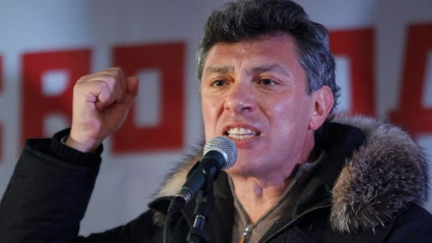 Opposition leader Boris Nemtsov speaks at a mass rally to protest against alleged vote rigging in Russia's parliamentary elections in Moscow in 2011.
