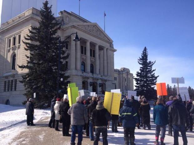 Protesters from Craik, Sask. outside the Saskatchewan Legislative Building