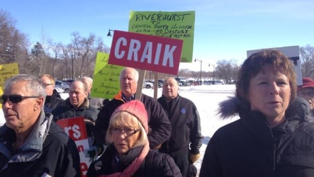 Protesters from Craik, Sask. outside the Saskatchewan Legislative Building on Monday were worried about the erosion of health services in their rural community.