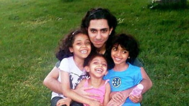 Raif Badawi and his children, who are now with their mother in Sherbrooke, Quebec.