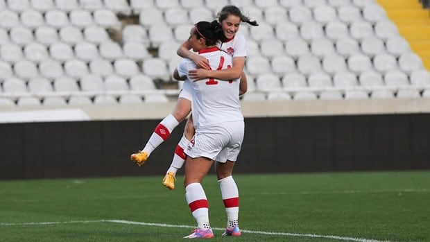 Rookie sensation Jessie Fleming, back, scored her first career goal for Canada's national senior team Wednesday at the Cyprus Women's Cup in Nicosia.