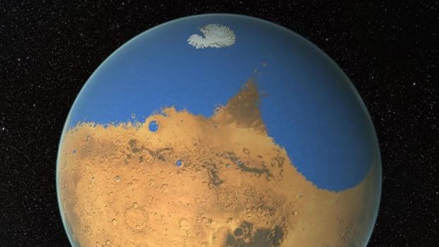 NASA scientists have determined that a primitive ocean on Mars held more water than Earth's Arctic Ocean does today, and that the red planet has lost 87 per cent of that water to space. The remaining water is locked in its polar ice caps.