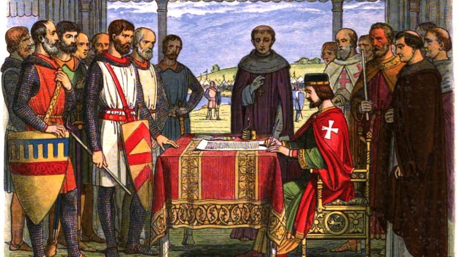 Romanticised 19th-century recreation of King John signing the Magna Carta, by James William Edmund Doyle (1864)