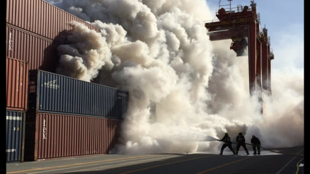 An emergency response plan was launched in Vancouver Wednesday after a shipping container containing a hazardous chemical caught fire.