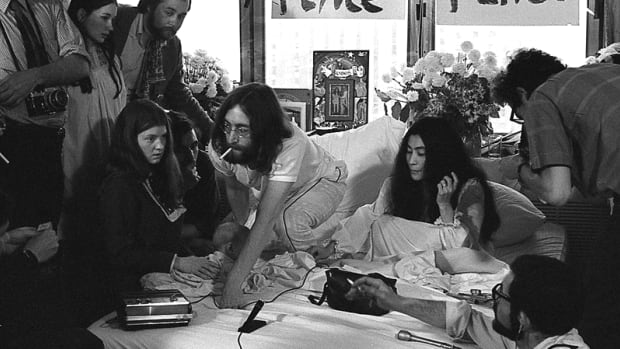 John Urban found a 36 roll of negatives of the famous John Lennon and Yoko Ono bed-in at a Montreal hotel in 1969. This is the only photo he released to CBC News.