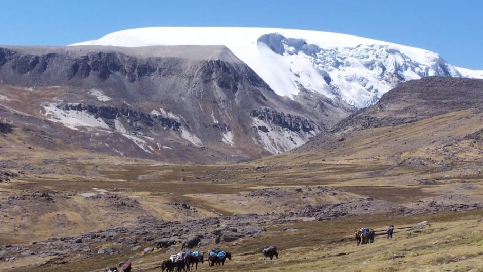The Quelccaya ice dome in the Peruvian Andes.