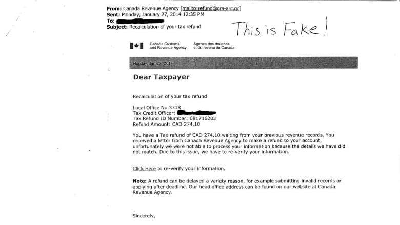 Email Tax Scam Claims To Send Refund From Cra Windsor Police Cbc News