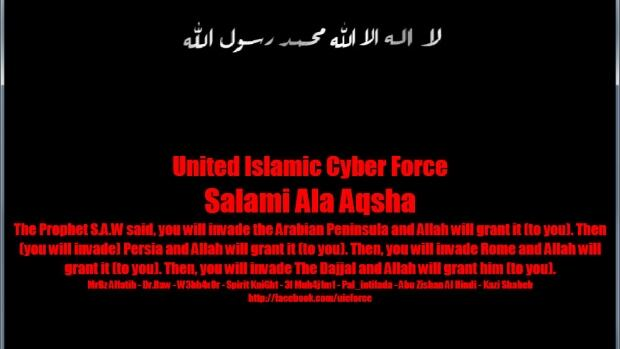 A message posted by a group calling itself the United Islamic Cyber Force appeared on the Bloq Quebecois website Monday morning.